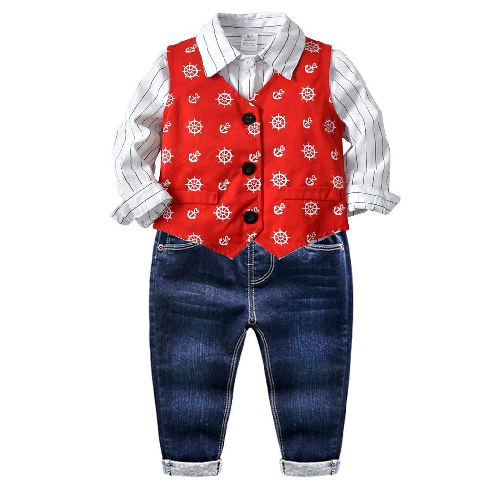 3Pcs Tollder Baby Boys Clothing Sets Vest Stripe Shirt Jeans Clothes Formal Suit