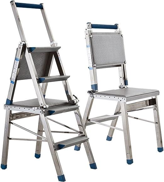CAIJUN Sillas Escalera Plegable Acero Inoxidable Doble Refuerzo Ingenieria Asientos Cuatro Niveles Subir Taburete laMadera Escalera: Amazon.es: Hogar
