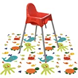 "Splat Mat for Under High Chair/Arts/Crafts, Wo Baby Reusable Waterproof Anti-slip Floor Splash Mat, Portable Play Mat and Table Cover (51"", Seaworld)"