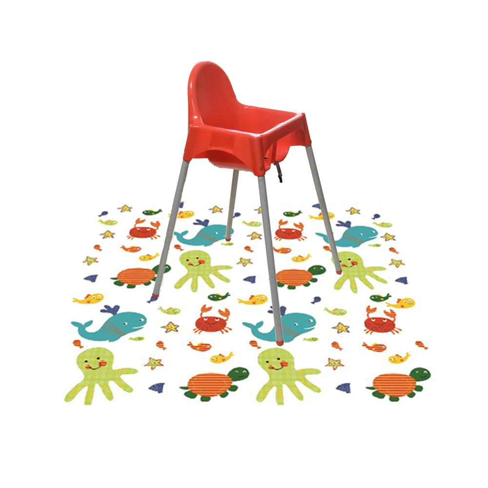 Splat Mat for Under High Chair/Arts/Crafts, Wo Baby Reusable Waterproof Anti-slip Floor Splash Mat, Portable Play Mat and Table Cover (51'', Seaworld)