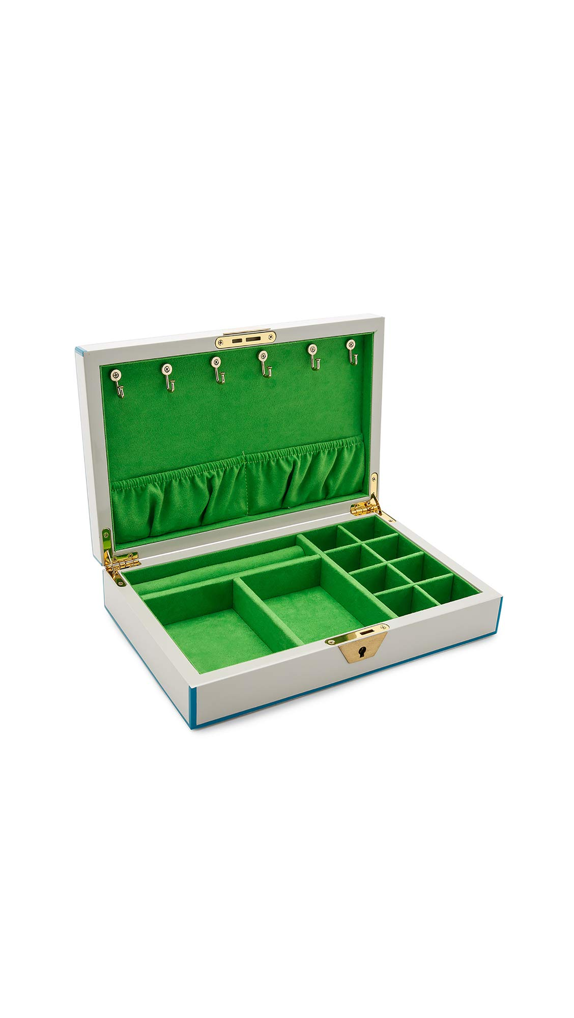 Jonathan Adler Lacquer Jewelry Box, White/Blue/Green
