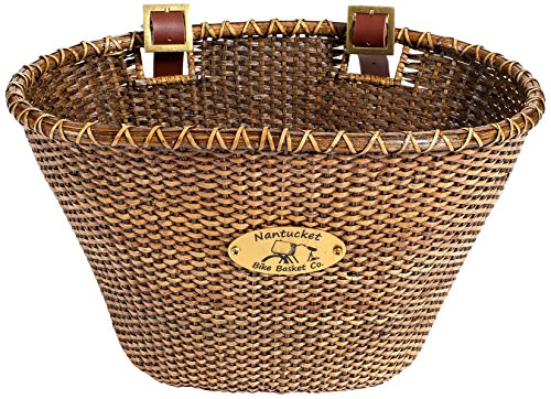 Nantucket Bicycle Basket Co. Lightship Collection Adult Bicycle Basket, Oval, Stained (Baskets Retail Shopping Wicker)