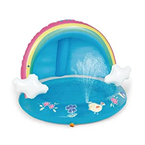 HIWENA Baby Pool, Rainbow Splash Pool with Canopy, Spray Pool of 40 Inches, Water Sprinkler for Kids, for Ages 1-3