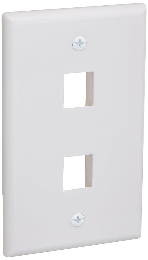 White 6 Port//Hole Keystone Snap-in Jack Insert Decora Wall Plate 1-Gang