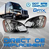 2008-2017 Freightliner Cascadia Headlight - Driver Side and Passenger Side Pair - Black Housing - Direct OEM Replacement Truck Lamp - Bulbs Not Included