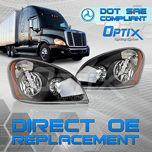 2008-2017 Freightliner Cascadia Truck Headlight - Driver Side and Passenger Side Pair - Black Housing - Direct OEM Replacement Lamp - Bulbs Not Included