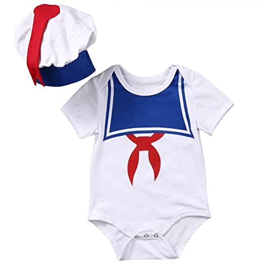 e548dea5c74b8 Baby Boys Girls Short Sleeve Sailor Bodyusit Costume with Hat (70(3-6M