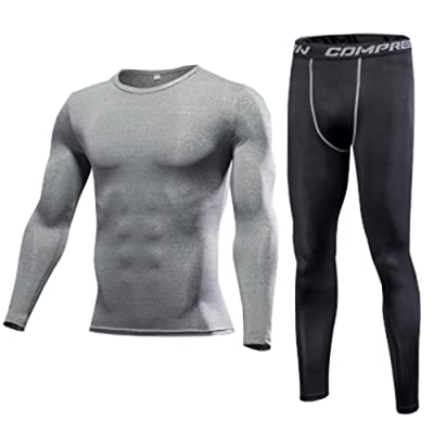 1Bests Men's Running Fitness Elastic Slim Compression Base Layer Long Sleeve Top & Pants Sweatsuits Set