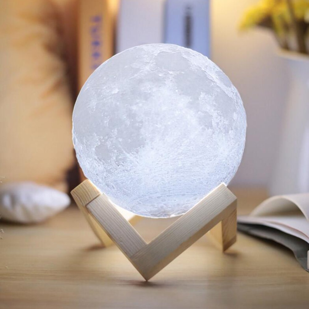 Unitake Luna Moon Night Light 3D Printed Touch Control Led Beside Table Lamp Rechargeable Battery Operated for Baby Nursery Kid Bedroom Valentine Gifts (5.9IN Moon Light with With Wood Base)