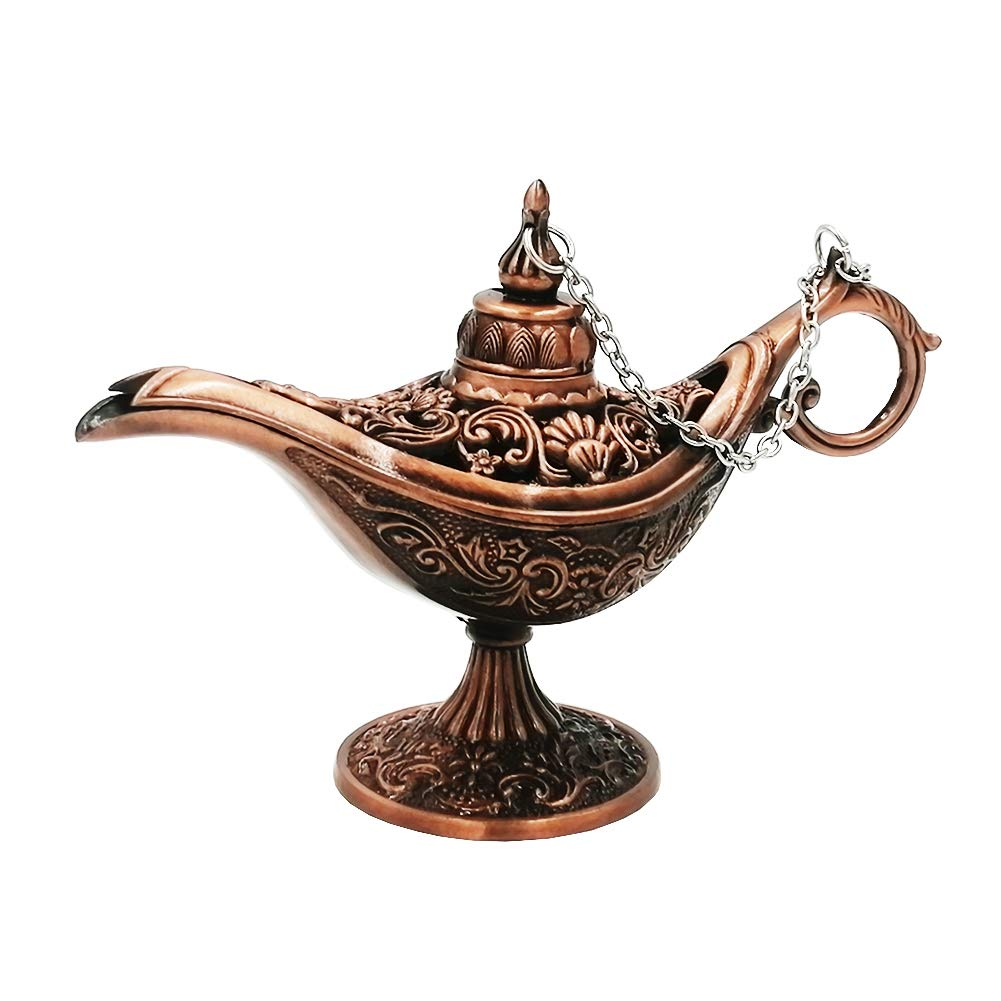 Honoro Vintage Legend Aladdin Magic Genie Lamp - Metal Carved Wishing Light for Home Wedding Party Tabletop Decoration Delicate Gift,Small Red Copper