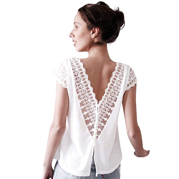 2c822985f90 Backless Lace Blouse Women Short Sleeve Back Button Double V Neck ...