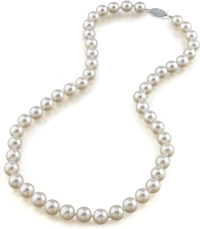 Blanco japonés collar de perlas Akoya 8 - 8,5 mm AA + agua dulce perla eslinga de 40 cm de longitud - real oro cierre
