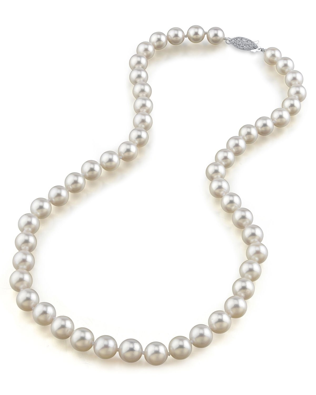 14K Gold 8.0-8.5mm Japanese Akoya Saltwater White Cultured Pearl Necklace - AAA Quality, 18'' Princess Length