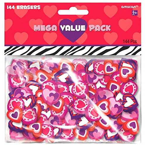 Amscan Valentine's Day Eraser Party favor Giveaway (Pack of 144), Multicolor, 5 3/4'' x 6'' by Amscan