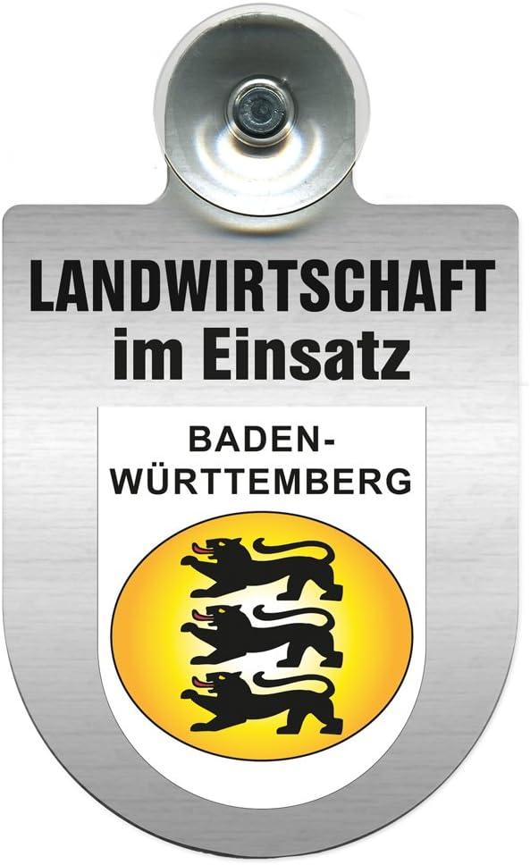 Einsatzschild f/ür Windschutzscheibe incl Landwirtschaft im Einsatz 309460 Farbe Region Franken Wappen nach Wahl Saugnapf