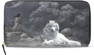 Cool Snow Wolf Leather Womens Zipper Wallets Clutch Coin Case