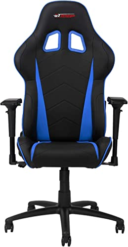 GT OMEGA PRO Racing Gaming Chair with Ergonomic Lumbar Support – PVC Leather Reclining High Back Home Office Chair with Swivel – PC Gaming Desk Chair for Ultimate Racing Experience – Black Next Blue