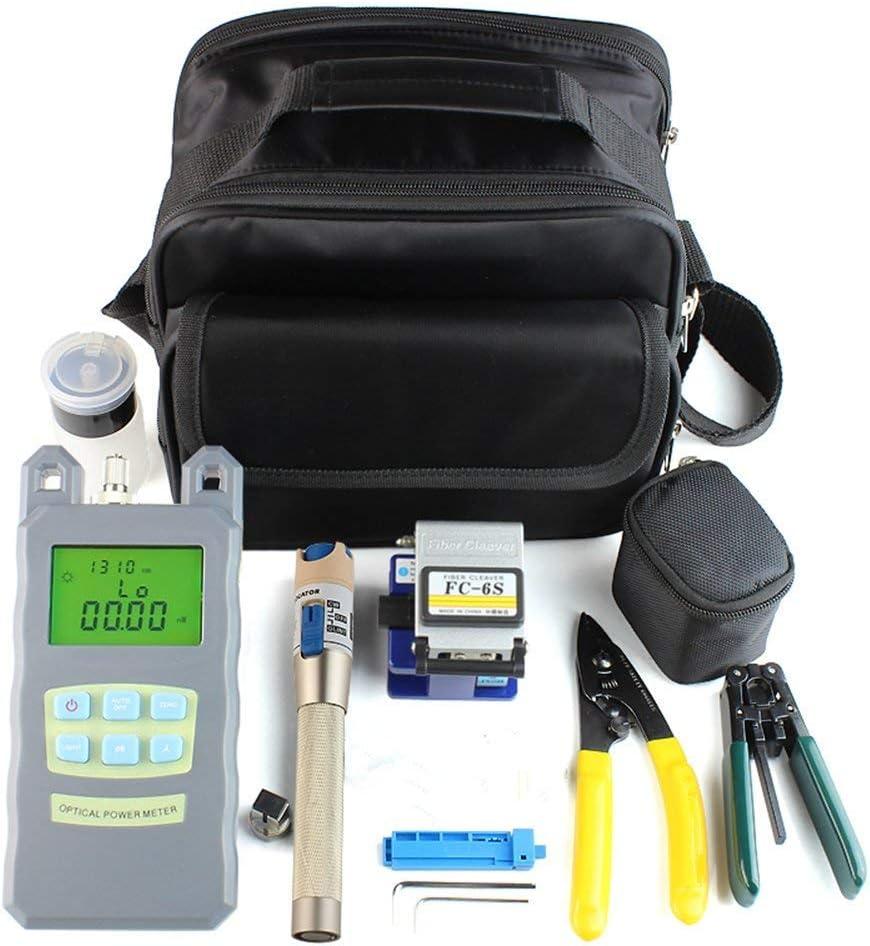 Kit Fibra óptica, FTTH Kit de herramientas con FC-6S cortadora de fibra optica y medidor de energía óptica 5 km Visual Localizador de averías Wire stripper