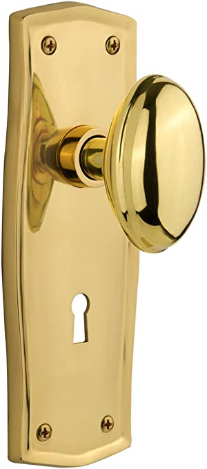 2.25 Polished Brass Nostalgic Warehouse Prairie Plate with Keyhole Waldorf Crystal Knob Mortise