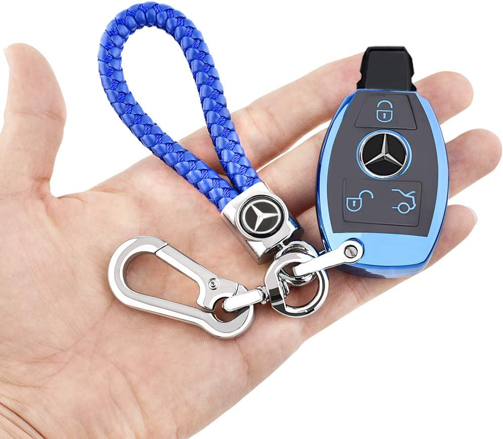 Longzheyu for Mercedes Benz Key Fob Cover Key Fob Case for Mercedes Benz C E M S CLS CLK GLK GLC G Class Premium Soft TPU Full Cover Protection Smart Remote Keyless Key Fob Shell,Blue
