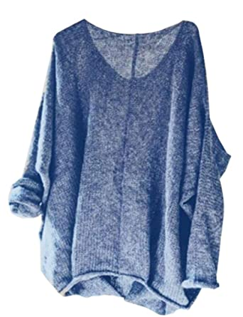 208bf9b2f182 BU2H Women Casual Long Sleeve Knitted V Neck Twist Sweater Pullover at  Amazon Women s Clothing store
