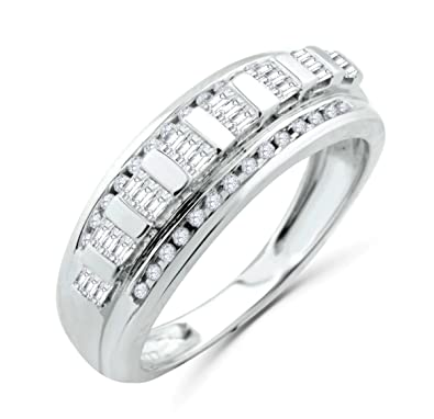 10K White Gold Mens Wedding Band Ring Baguettes and Round Diamonds ...