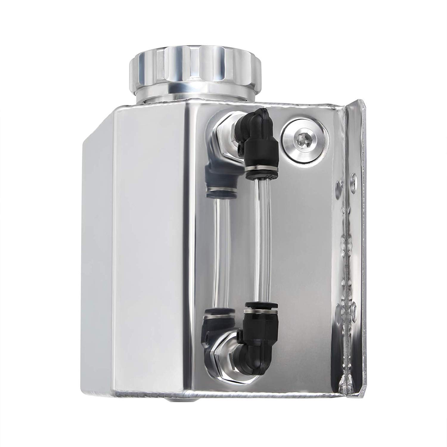 Qauick JDM Coolant Radiator Overflow Recovery Water Tank Reservoir Bottle Polished Aluminum Silver