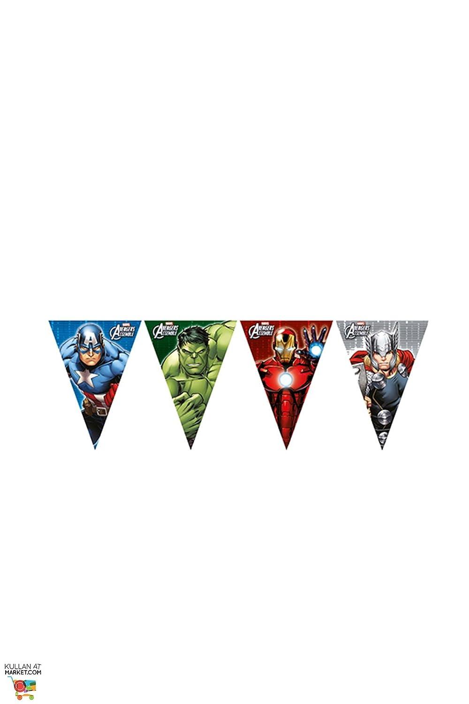 1 Wimpelkette * AVENGER ASSEMBLE * für Geburtstag und Motto-Party // Plastic Flag Banner Kindergeburtstag Kinder Motto Superheld Procos 47091