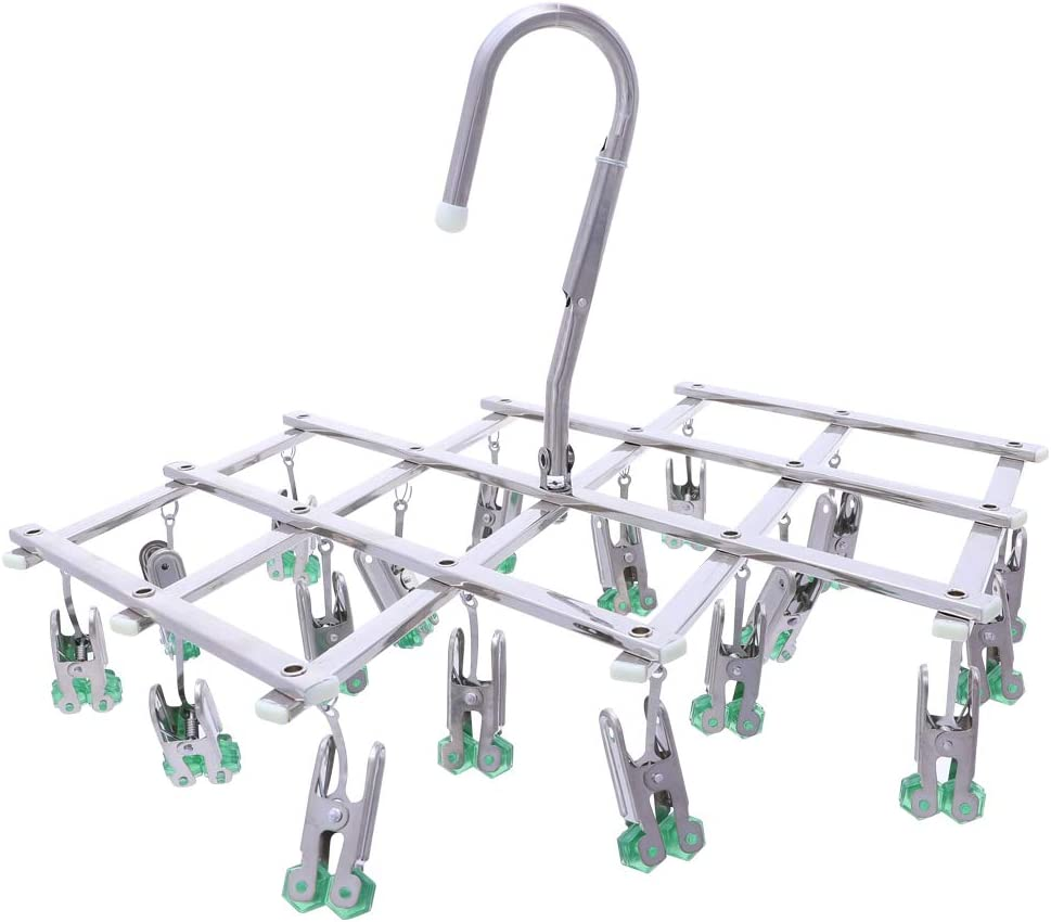qinglele Drying Hanger,Hanging Drying Rack,Drip Hanger Stainless Steel with 18 Pegs for Laundry Underwear Socks Bra Panty,Quickly Remove Clothes from Hanger,Windproof,Folding Portable,Green