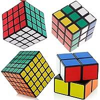 SET OF 4 Rubiks Cube Speed Puzzle Magic 2x2 3x3 4x4 5x5 Kids Toy