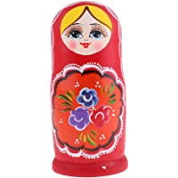 FITYLE 8Pcs Wooden Nesting Dolls Matryoshka Babushka Russian Girl Hand Painted Doll Red