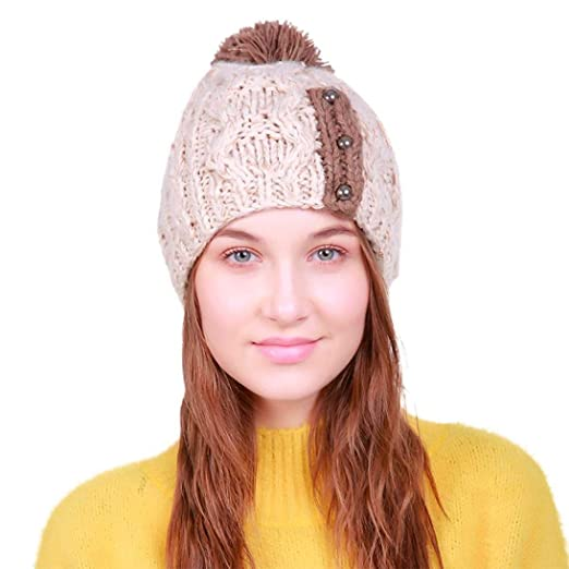 eac3df53fc1 Hunputa Womens Hat Winter Winter Oversized Cable Knitted Pom Pom Slouchy Beanie  Hat Ski Cap for Womens Girls (Beige) at Amazon Women s Clothing store