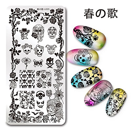NICOLE DIARY 1Pc Rectangle Stamping Plate Skull Rose - Press On Nails Skull