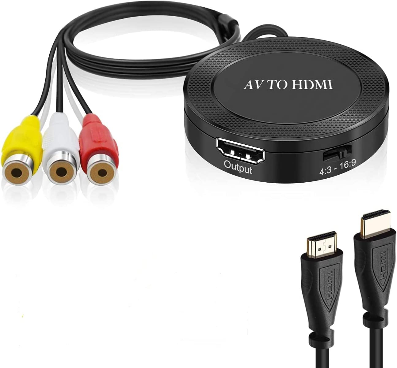 AV to HDMI RCA to HDMI Converter, Composite to HDMI Adapter Support 1080P, PAL/NTSC Compatible with N64 NGC SNES SEGA ,WII, WII U, PS1, PS2, PS3, STB, Xbox, VHS, VCR, Blue-Ray DVD …