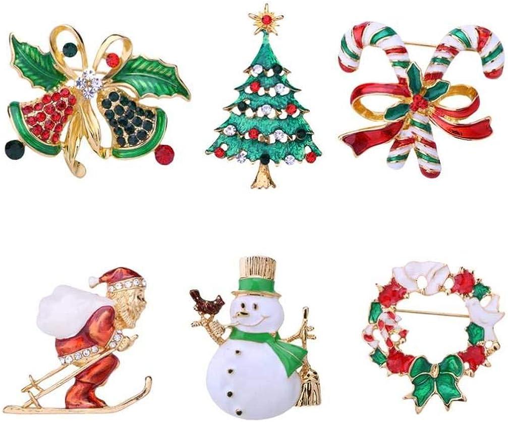Amosfun 6pcs Christmas Enamel Rhinestone Brooch Pin Set