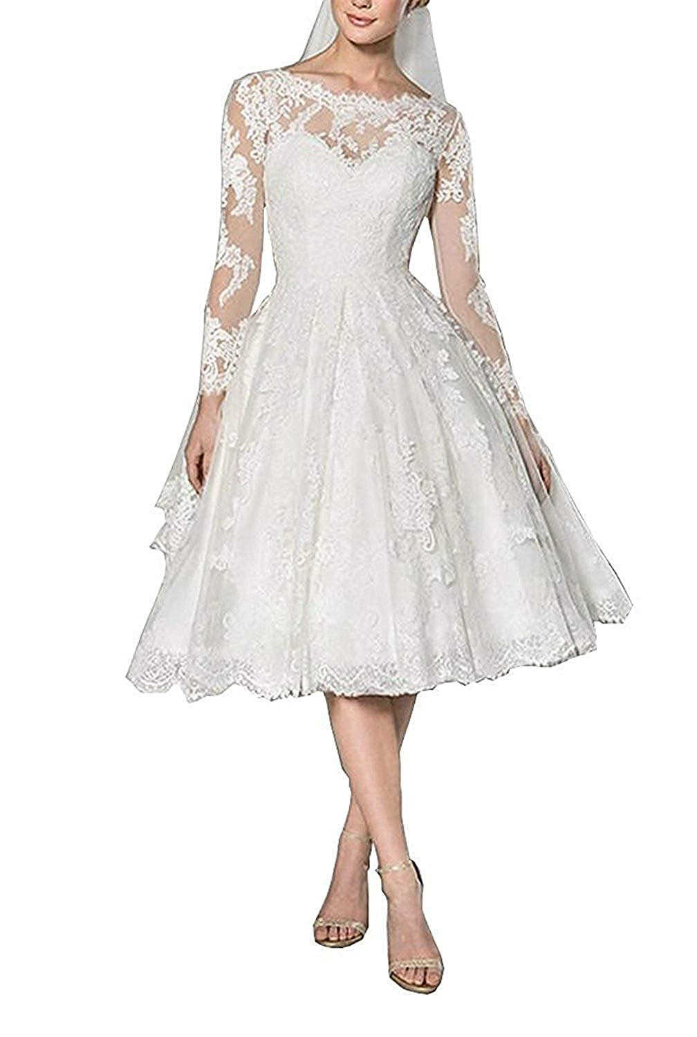 DressyMe Women's Vintage Short Wedding Dresses for Bride with Sleeves Applique