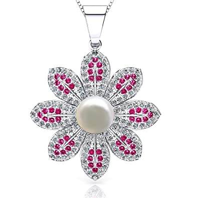 ONECK Silver Necklace Women Jewellery Sunflower 925 Sterling Silver  Freshwater Pearl 5A Cubic Zirconia Crystal Pendant 362fa9dde5ff