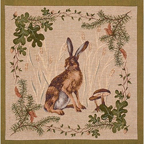 Jacquard woven French tapestry, The Hare.19 x 19
