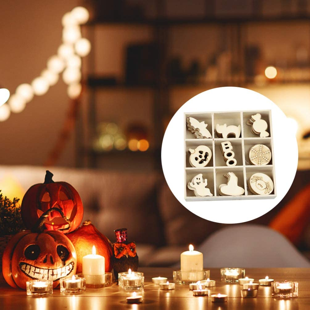 adornos para colgar HEALLILY 72 piezas de madera para Halloween recortes de madera