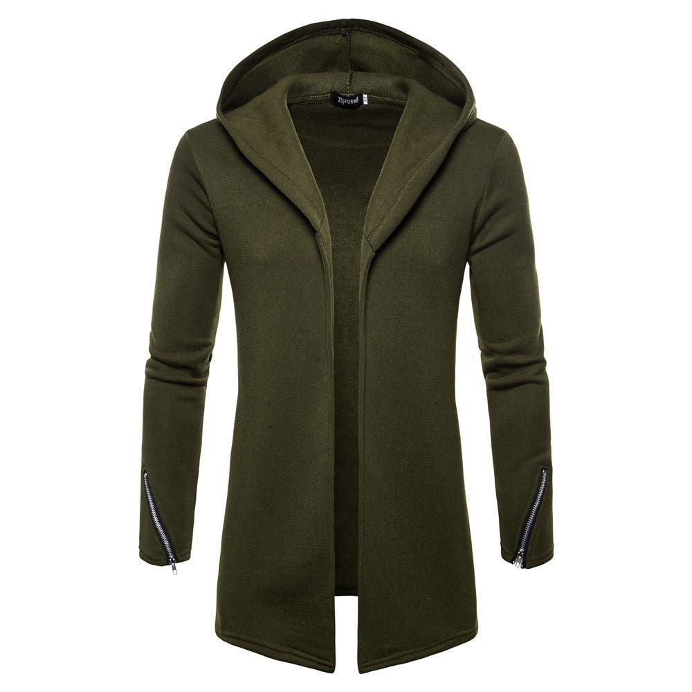 kaifongfu Mens Cardigan,Hooded Solid Trench Coat for Mens Long Sleeve Outwear(Green,M)