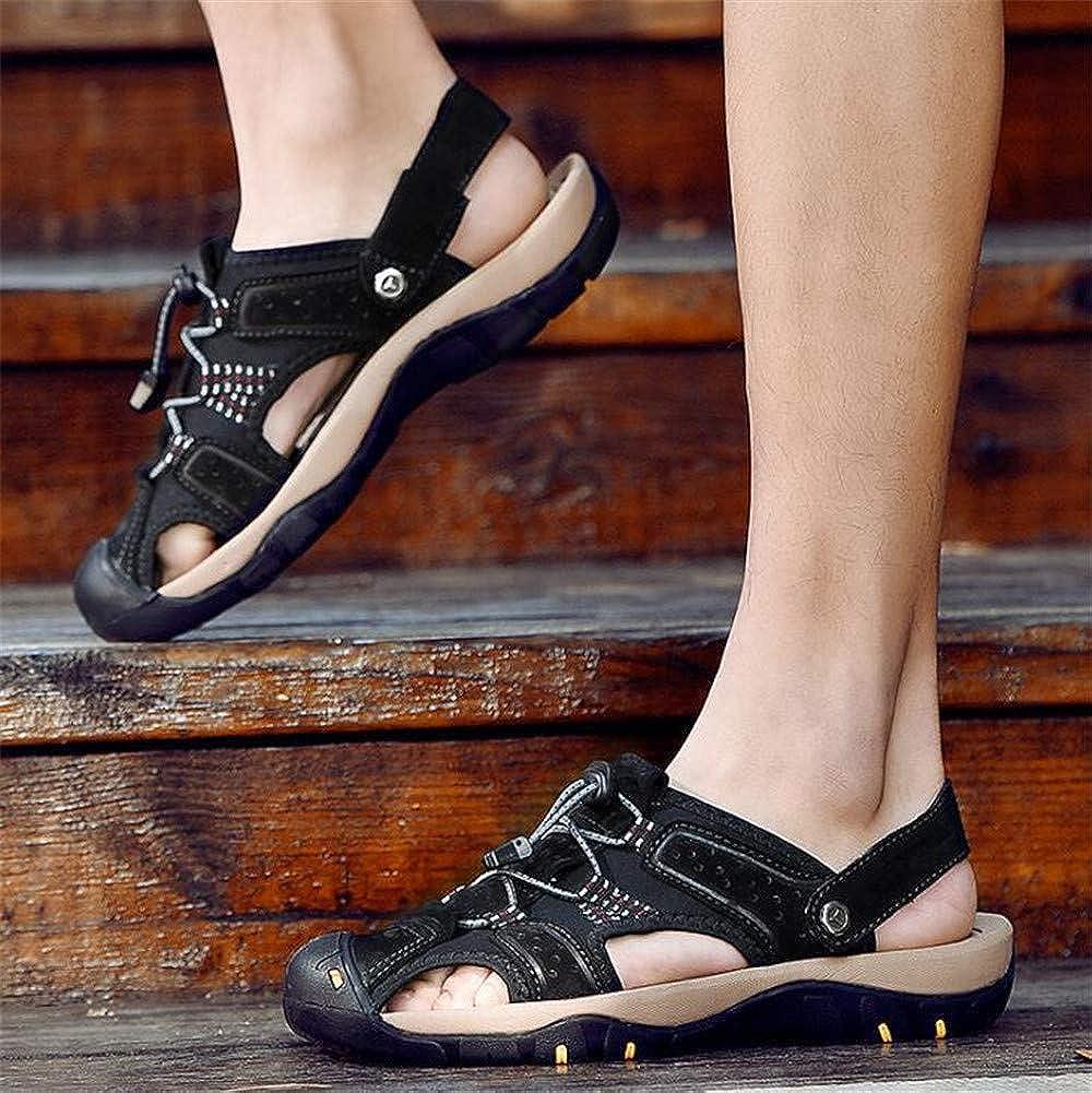Black,Lable 43//8.5 D Mens Leather Sandals Comfortable Soles Breathable M US Men
