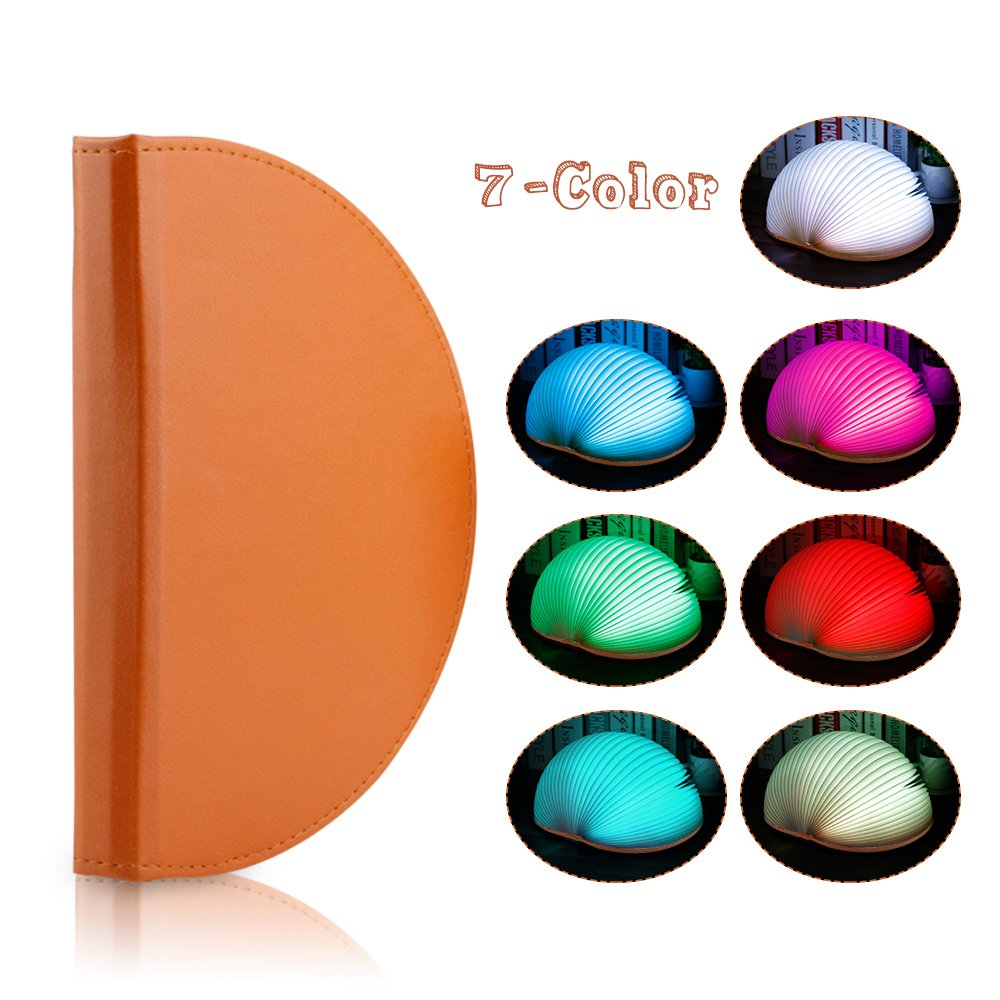 Veesee 7 Colors Rechargeable Folding Book Lamp,3 Brightness Book-Shaped Night Light Beside Nightstand Bed Desk Table Decor Lights,Creative Birthday Father's Gift for Teen Girls Kids Family Book Lover