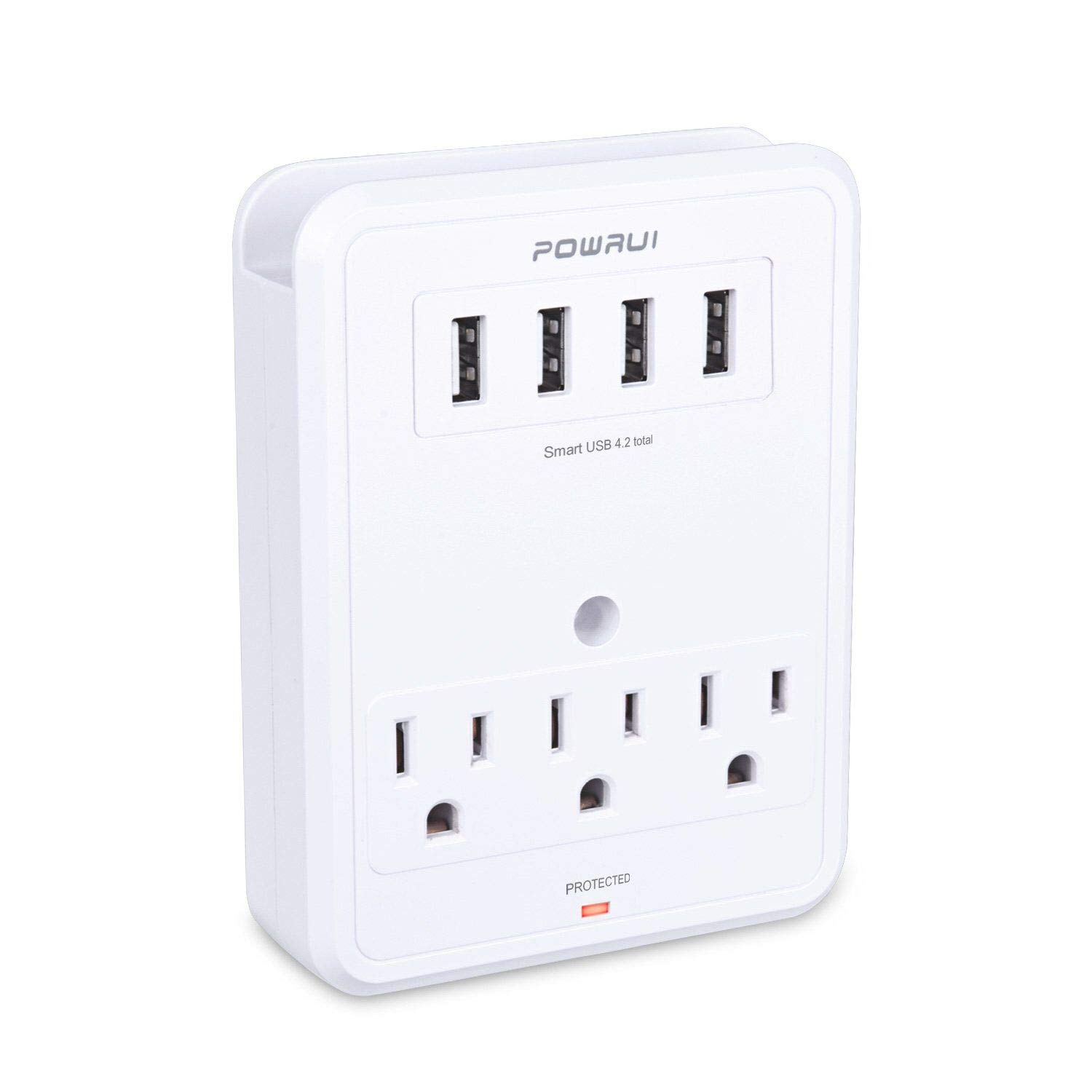 POWRUI Multi Wall Outlet Adapter Surge Protector 1680 Joules with 4-USB Ports Wall Charger, Wall Mount Charging Center 3 Outlet Wall Mount Adapter for Home, School, Office, ETL Certified by POWRUI