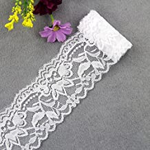 Lace Ribbon DIY Embroidered Net Lace Trim Fabric Ribbons For Sewing Decoration Supplies (White)