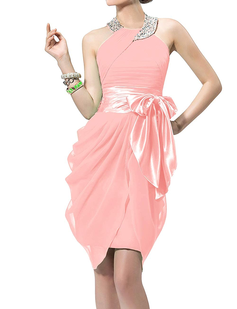 Pink Uther Halter Cocktail Dress Short Formal Party Gowns Beaded Pleats Bridesmaid Dresses