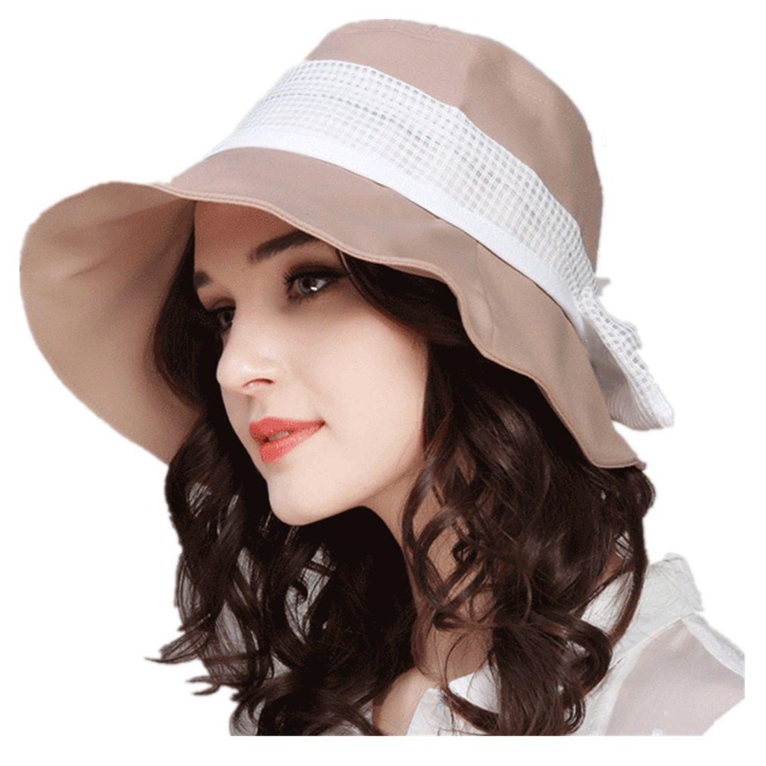 0a7e24ef1d485 LLmoway Foldable Women Sun Hats Wide Brim Safari Hat with String UV  Protection Caps Dry Fit Khaki