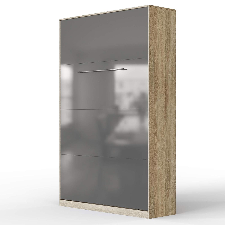 SMARTBett Standard 90x200 Vertikal Weißs Schrankbett   ausklappbares Wandbett, ideal geeignet als Wandklappbett fürs Gästezimmer, Büro, Wohnzimmer, Schlafzimmer Eiche Sonoma Anthrazit Hochglanzfront 120 Vertikal