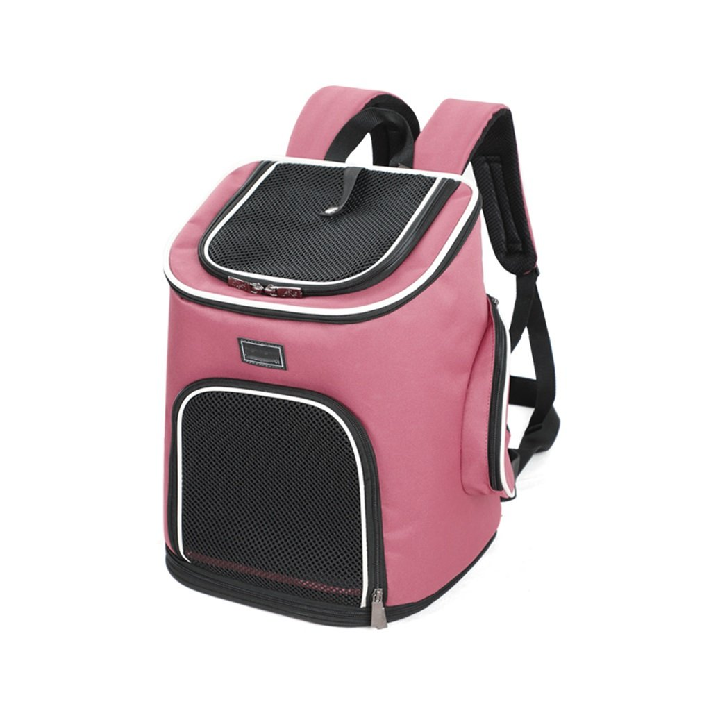 Pet Carrier Bag Pink Large Pet Carrier Backpack Foldable Outdoor Travel Backpack with Waist Strap for Camping Cycling Hiking Mesh Top Opening Portable Collapsible