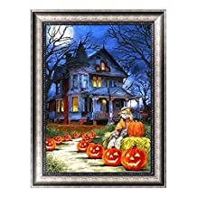 C-Pioneer Halloween Series DIY 5D Diamond Embroidery Painting Rhinestone Cross Stitch Craft Home Decor (Castle & Pumpkin)