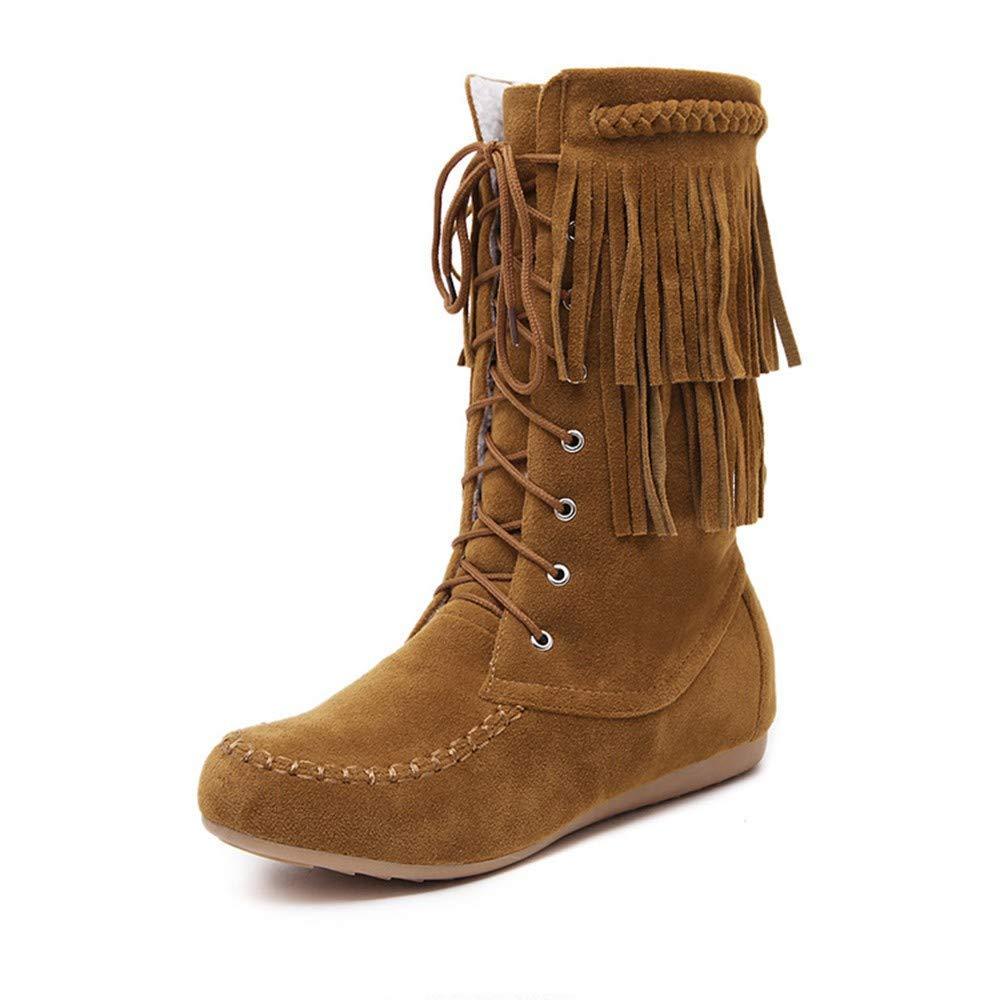 ZHRUI Stiefel Damen Schuhe Stiefeletten Mode Frauen Mode Quaste Lace-up Winter warme Flache Schneeschuhe Runde Toe Schuhe (Farbe   Braun Größe   37 EU)